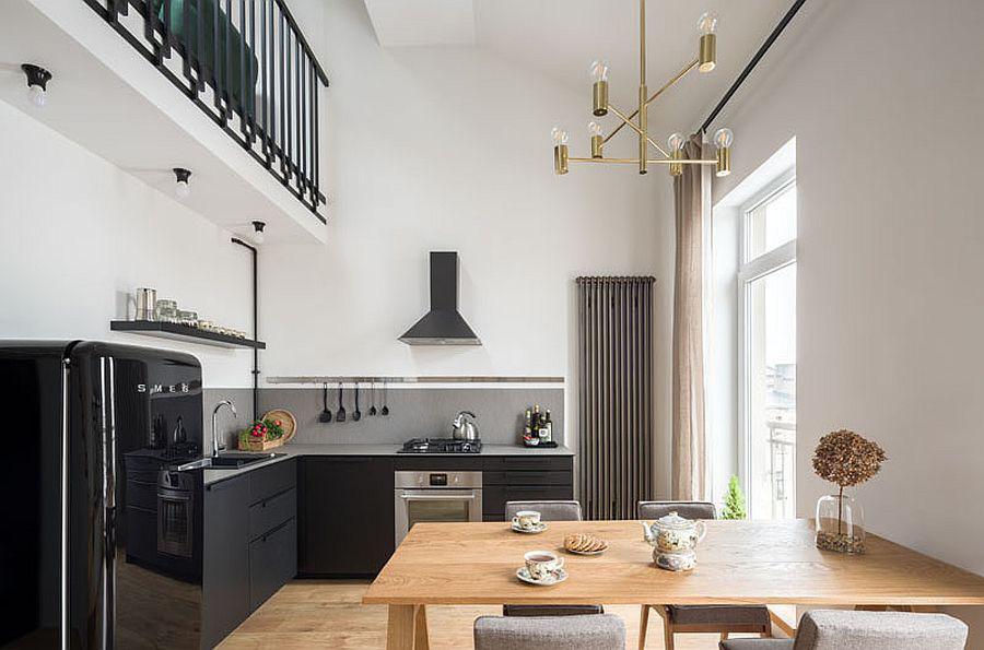 Căn hộ nhỏ xíu cực xinh xắn với tầng lửng màu đen và trắng ấn tượng - Ảnh 5