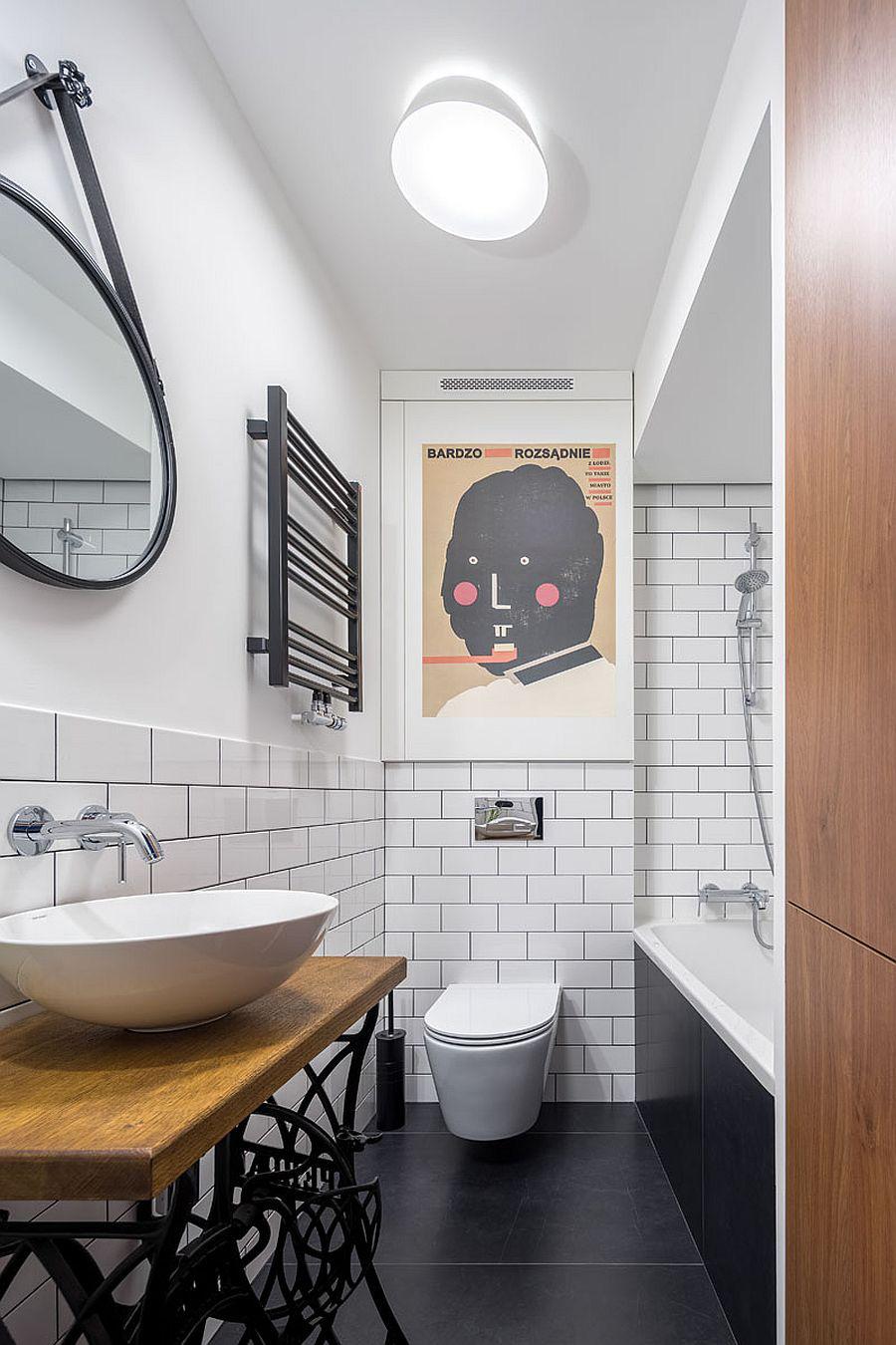 Căn hộ nhỏ xíu cực xinh xắn với tầng lửng màu đen và trắng ấn tượng - Ảnh 9