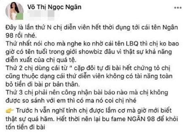 """Hot girl Ngân 98 và những màn """"cà khịa"""" cả showbiz Việt - Ảnh 3"""