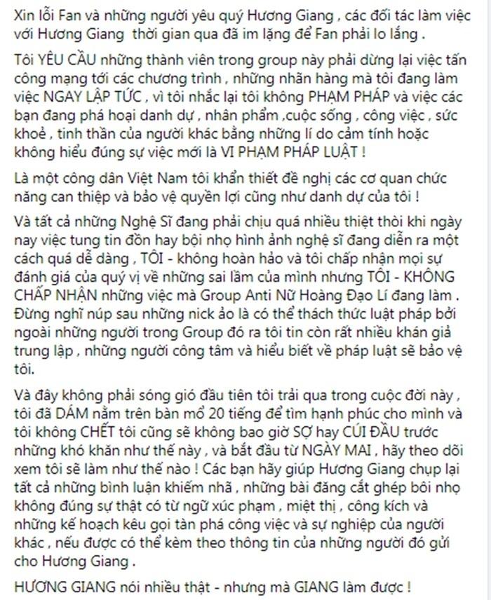 Hương Giang lên tiếng về Group 110 nghìn anti-fan: Tôi không đạo lý - tẩy trắng, nhờ pháp luật can thiệp - Ảnh 7