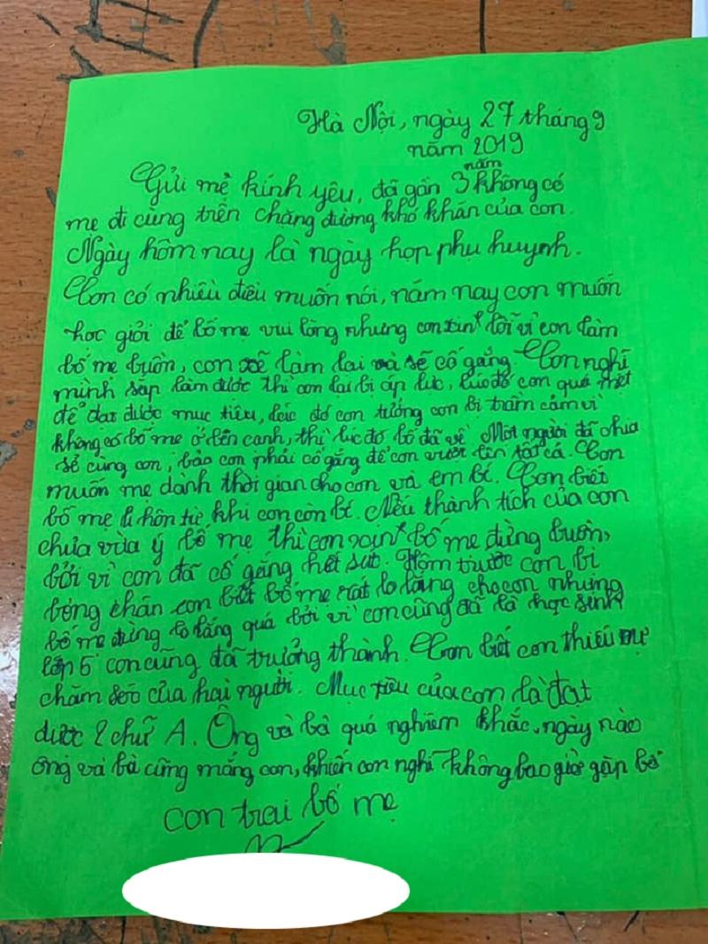 Xúc động bức thư của cậu bé lớp 5 có bố mẹ ly hôn: 'Con tưởng con bị trầm cảm khi không có bố mẹ ở bên' - Ảnh 1