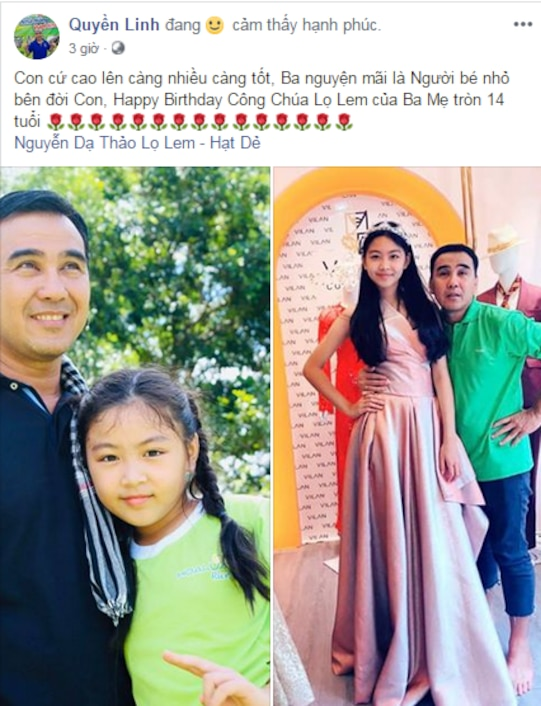 MC Quyền Linh chia sẻ hình ảnh ngày ấy - bây giờ của bé Lọ Lem, nhân dịp sinh nhật 14 tuổi - Ảnh 1