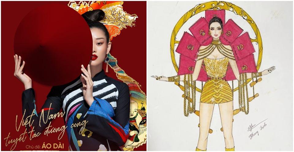 Bản thiết kế trang phục dân tộc '7 miếng đất' cho Khánh Vân thi Miss Universe 2020 gây tranh cãi - Ảnh 1