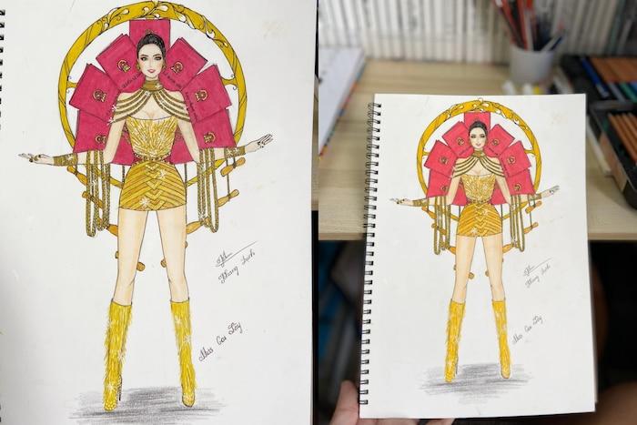 Bản thiết kế trang phục dân tộc '7 miếng đất' cho Khánh Vân thi Miss Universe 2020 gây tranh cãi - Ảnh 2
