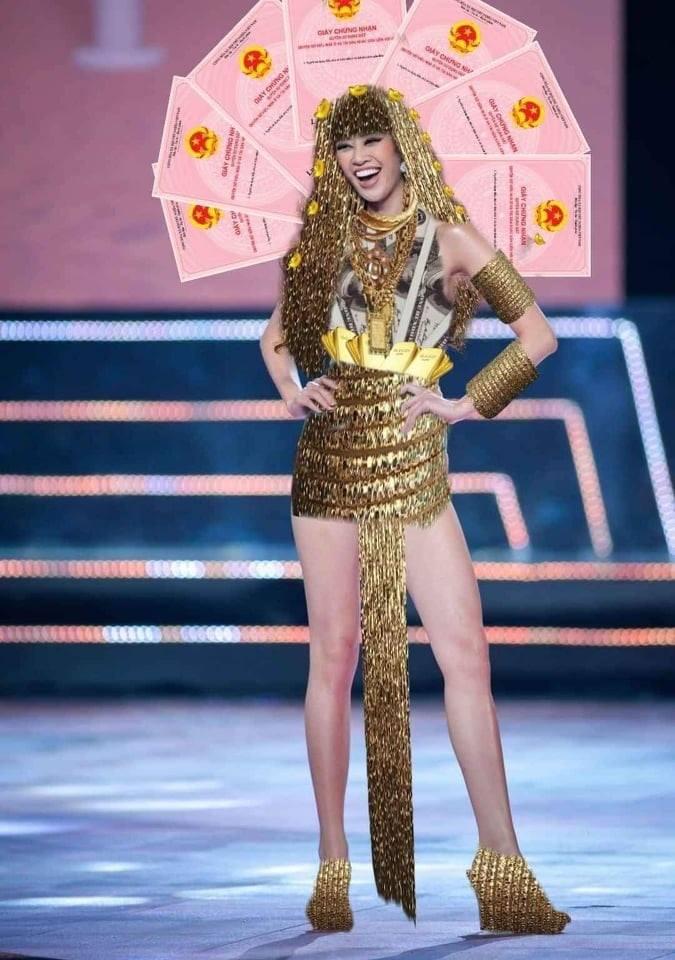 Bản thiết kế trang phục dân tộc '7 miếng đất' cho Khánh Vân thi Miss Universe 2020 gây tranh cãi - Ảnh 3