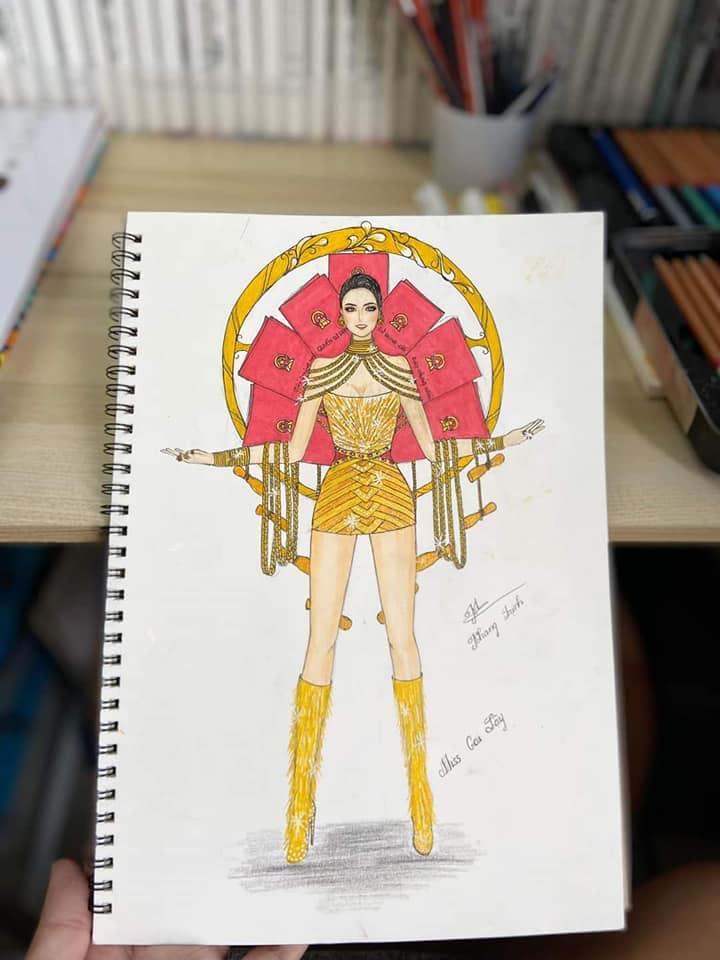 Bản thiết kế trang phục dân tộc '7 miếng đất' cho Khánh Vân thi Miss Universe 2020 gây tranh cãi - Ảnh 4