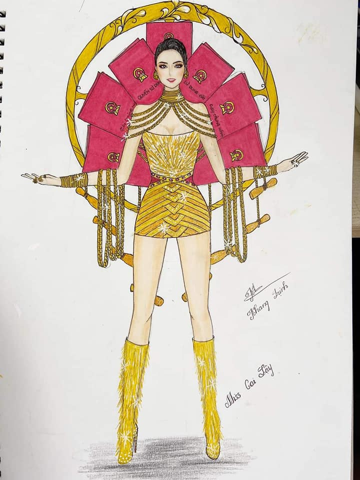 Bản thiết kế trang phục dân tộc '7 miếng đất' cho Khánh Vân thi Miss Universe 2020 gây tranh cãi - Ảnh 5