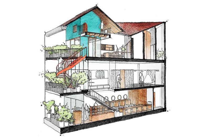 Nhà ở kết hợp với studio áo cưới được bố trí hợp lý - Ảnh 13