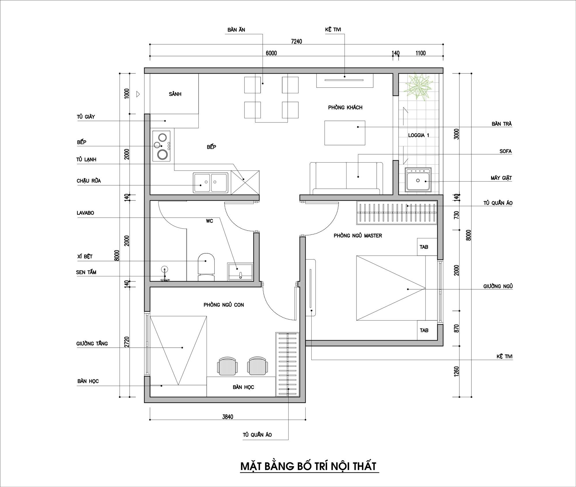 Tư vấn thiết kế căn hộ thô có diện tích 54m² với tổng chi phí 83 triệu đồng - Ảnh 1