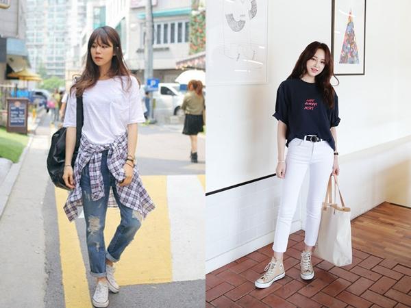 Quần jeans khi kết hợp với áo phông sẽ làm tăng thêm độ thanh lịch, nền nã cho bộ đồ
