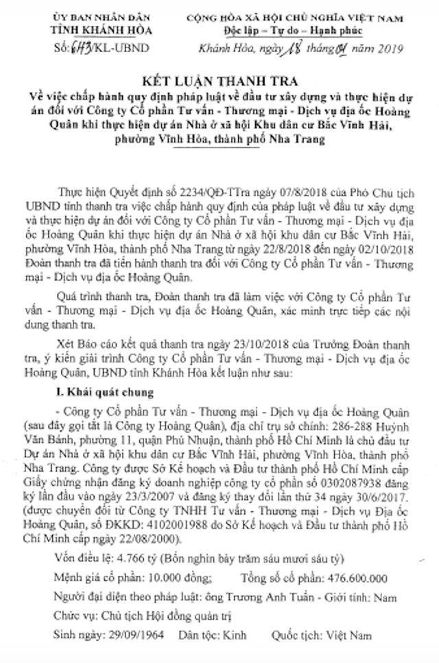 UBND tỉnh Khánh Hòa vừa có văn bản số 643/KL-UBND về việc chấp hành quy định pháp luật về đầu tư xây dựng và thực hiện dự án của Hoàng Quân