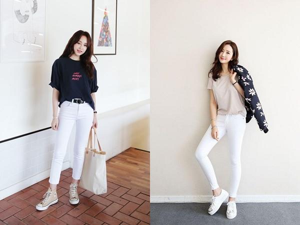Vốn mang nét khỏe khoắn và năng động, quần jeans trắng sẽ giúp các quý cô công sở trở nên nữ tính, thanh lịch hơn