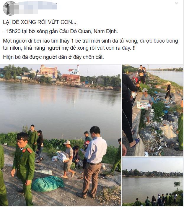 Xôn xao thông tin bé trai sơ sinh bị mẹ vứt ra bờ sông ở Nam Định - Ảnh 1