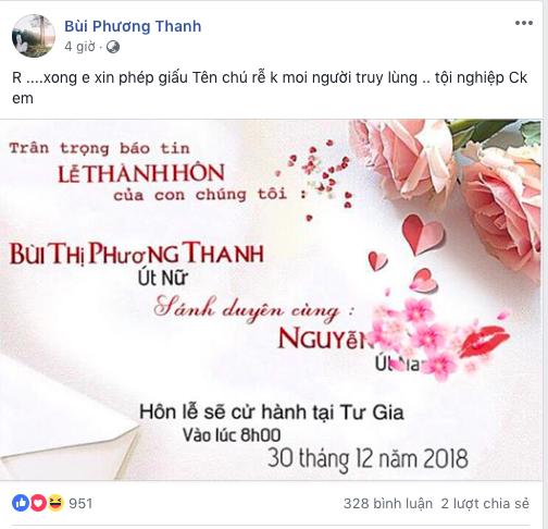Mạng xã hội 'náo động' khi Phương Thanh công bố lên xe hoa vào ngày 30/12 - Ảnh 1
