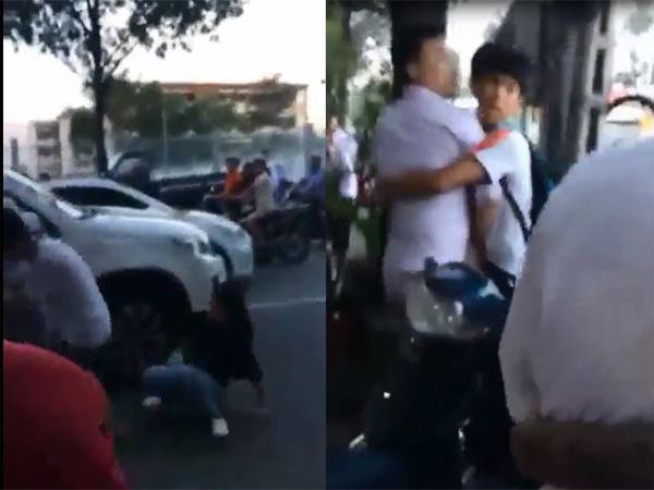 Người đàn ông đánh phụ nữ sau va chạm giao thông