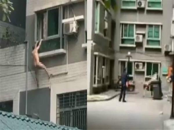 Người đàn ông không mảnh vải che thân bám ở cửa sổ khi bị bắt ngoại tình