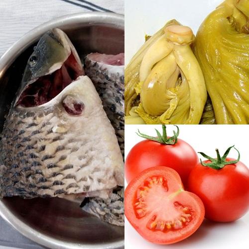 Nguyên liệu cho món canh cá dưa chua