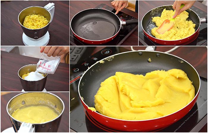 Nấu, sên đậu xanh đến khi thành hỗn hợp đặc mịn