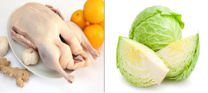 Nguyên liệu chế biến món gỏi vịt bắp cải thơm ngon, giòn tan