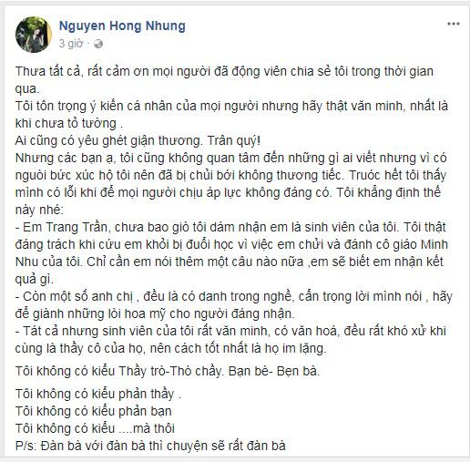 Bị Trang Trần tố ức hiếp học trò, vợ NSƯT Xuân Bắc bức xúc: 'Tôi đáng trách khi cứu em khỏi bị đuổi học vì chửi, đánh cô giáo' - Ảnh 2
