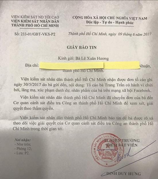 Trước vụ kiện của NS Xuân Hương: Trang Trần nói chỉ là chuyện nhỏ