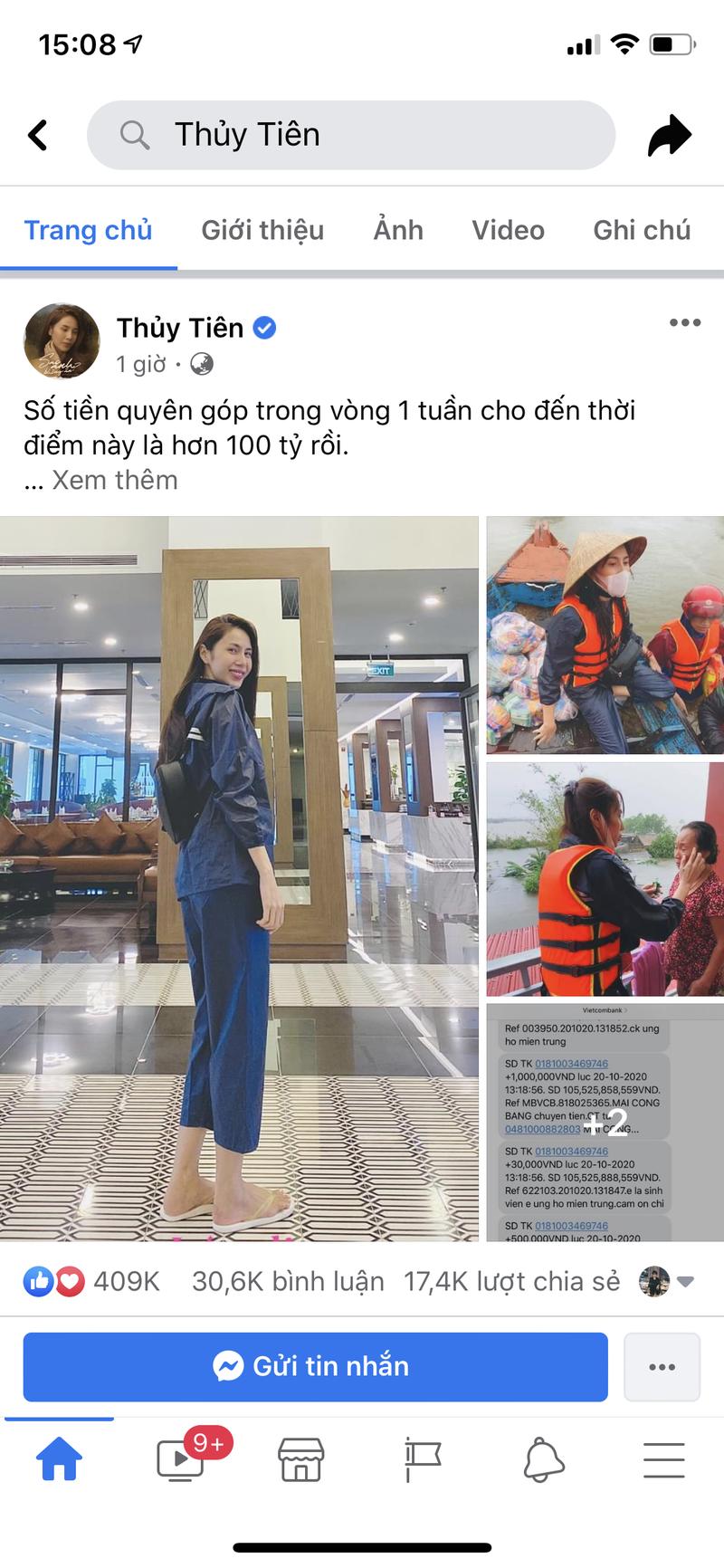 Hình ảnh ca sĩ Thủy Tiên kêu gọi được 100 tỷ đồng, lao vào lũ dữ cứu trợ đồng bào - Ảnh 1