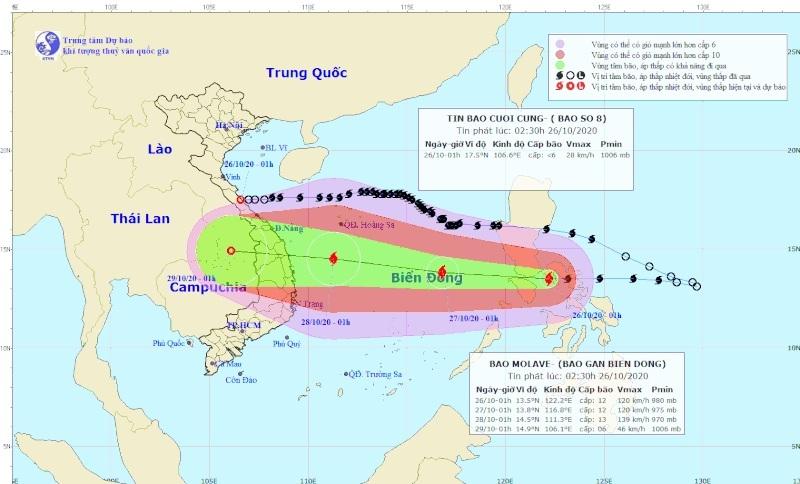 Bão Molave giật cấp 14 và sẽ mạnh thêm, đi vào Đà Nẵng - Phú Yên ngày 28-10 - Ảnh 1