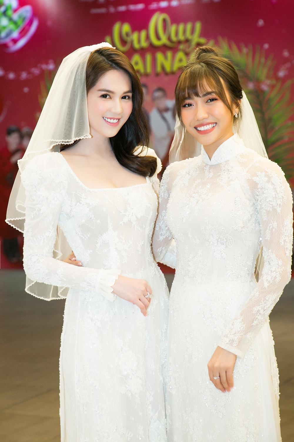 Chị em 'gái ế'Ngọc Trinh, Diệu Nhi hóa cô dâu xinh đẹp trong 'ngày cưới' - Ảnh 1