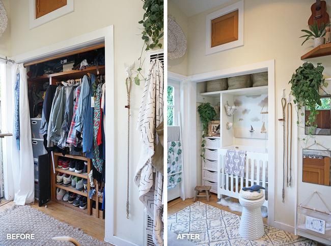 Trước và sau khi cải tạo tủ quần áo thành phòng em bé.