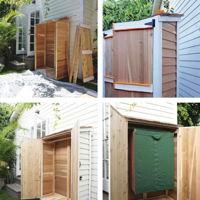 Tủ đồ được chuyển ra ngoài hiên với thiết kế tủ 2 lớp.