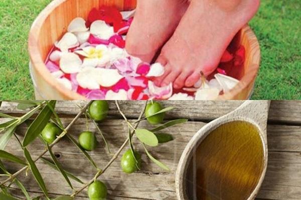 Ngâm chân với dầu oliu giúp trị nứt gót chân nhanh chóng