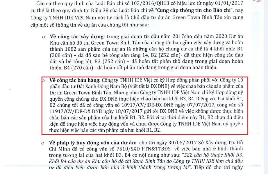 Văn bản IDE Việt Nam gửi cho Thương Gia khẳng định chưa hề uỷ quyền cho Đất Xanh ĐNB bán các căn hộ tại 2 bock B1 và B2