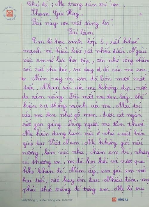 Bài văn tả mẹ nhưng lại ra bố của bé lớp 5 khiến ai cũng nghẹn ngào - Ảnh 1