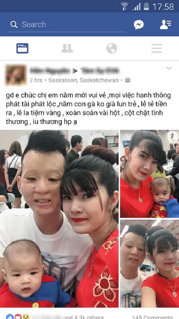 Cặp đôi chồng xấu vợ xinh cùng con trai bất ngờ chúc Tết cộng đồng mạng - Ảnh 1