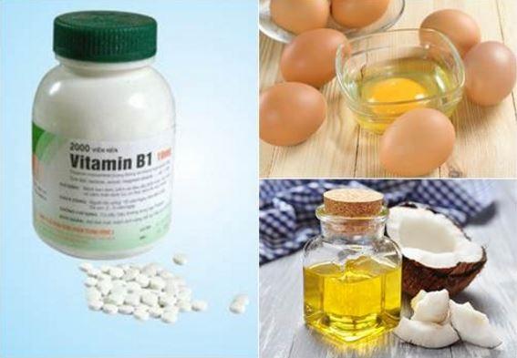 Hỗn hợp trị rụng tóc từ vitamin B1 (có thể thay dầu oliu bằng dầu dừa).