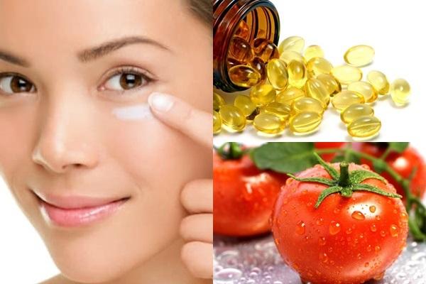 Dùng cà chua kết hợp vitamin E trị thâm quầng mắt tốt hơn