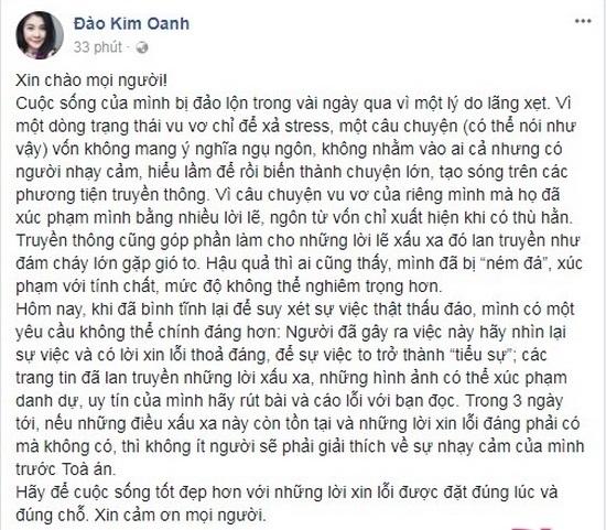 Ngỡ ngàng với phản ứng của vợ Xuân Bắc khi Kim Oanh dọa kiện nếu không được xin lỗi sau 3 ngày nữa - Ảnh 1
