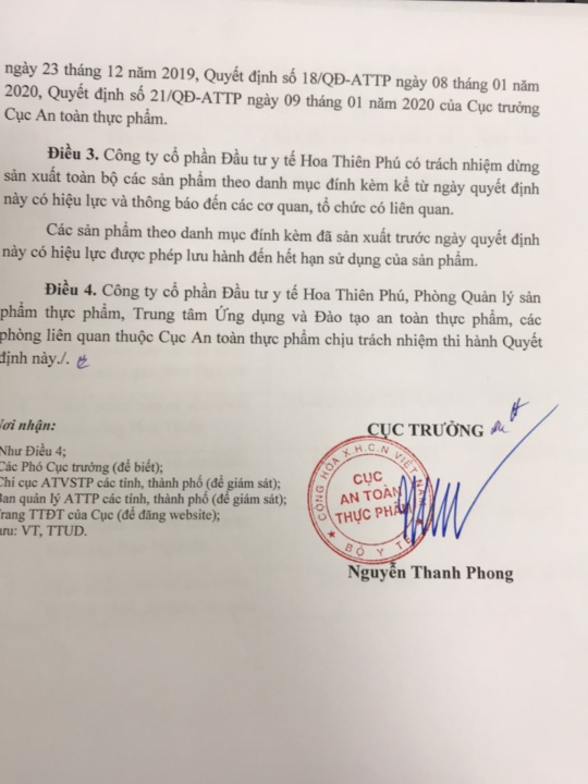 Công ty Hoa Thiên Phú chủ động thu hồi Giấy tiếp nhận đăng ký bản công bố cũ, xin số công bố mới - Ảnh 2